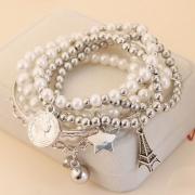 Bracelet de 6-Pièces Doux Stylé à la Mode avec les Perles et des Pendentifs