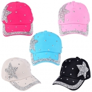 Fashion Rhinestone Pentagram Children Baseball Cap