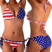 Sexy American Flag Star Stripe Halter Bikini Suit