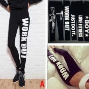 Fashion Letters Printed High Waist Stretch Leggings