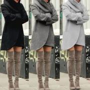 Cardigan Stylé à la Mode Chic à Capuche avec l'Ourlet Irrégulier(Un Style Léger)
