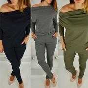 Combinaison Stylée à la Mode Sexy Epaules Dénudées à Manches Longues avec Deux Poches à Côté