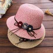 Sweet Style SD Flower Spliced Straw Hat Sun Hat