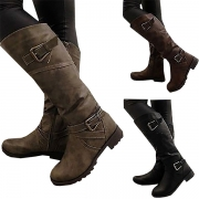 Retro Style Flat Heel Round Toe Side-zipper Knee-length Boots