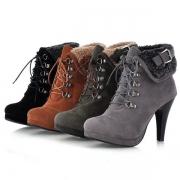 Boots/Bottines Stylées à la Mode à Talons Hauts avec un Design à Lacets