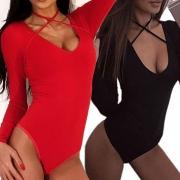 Body Moulant Sexy à la Mode à Manches Longues Encolure V avec un Design Croisé