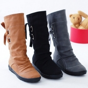Fashion Solid Color Flat Heel Round Toe Lace-up Boots