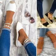 Sandales à Talons Plats Stylées à la Mode Chic avec les Rivets
