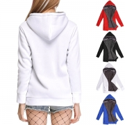 Fashion Solid Color Long Sleeve Plush Lining Hooded Sweatshirt Coat