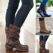 Retro Style Round Toe Flat Heel Buckle Strap Boots