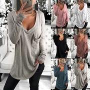Tee-Shirt Ample Doux à la Mode Encolure V à Manches Longues(Petite taille)