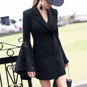 Blazer/Veste Elégante Stylée à la Mode OL-Style à Double-Boutonnage avec les Détails en Dentelle