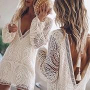 Robe Blanche Douce à la Mode Sexy Dos Nu Encolure V à Manches Longues en Dentelle