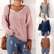 Sweater/Pull Doux à la Mode Encolure V à Manches Longues