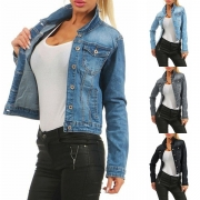 Fashion Long Sleeve Slim Fit Denim Coat
