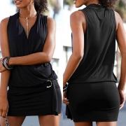 Robe Noire Elégante à la Mode Sexy Encolure V Sans Manches