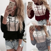 Fashion Contrast Color Long Sleeve Letters Printed Hoodie