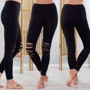 Leggings Noir Moulant Stylé à la Mode Troué à la Taille Haute