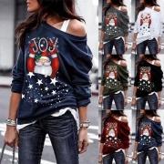 Top de Noël Doux Stylé à la Mode Epaule-Oblique à Imprimés de Papa Noël