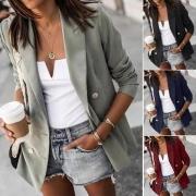 Blazer/Veste Elégante à la Mode Stylée OL-Style à Revers à Manches Longues