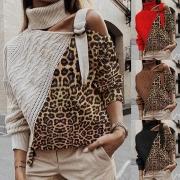 Sweater Doux à la Mode Sexy Epaule Dénudée au Col Rabattu à Imprimés de Léopard