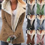 Veste Douce Stylée à la Mode à Revers avec une Doublure en Pilou(Un Style Léger)