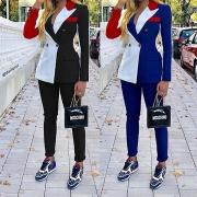 Deux-Pièces OL-Style à la Mode en Couleur Contrastée :Blazer à Revers+Pantalon