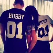 Tee-Shirt Simple à la Mode à Manches Courtes à Imprimés de Lettres Pour les Couples