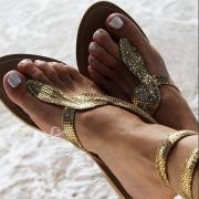 Sandales à Talons Plats Chic à la Mode à Imprimés de Peau de Serpent