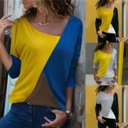 Tee-Shirt Stylé à la Mode en Couleur Contrastée à Manches Longues