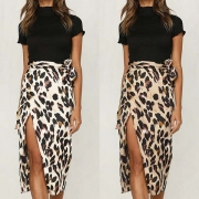 Fashion High Waist Slit Hem Leopard Print Skirt