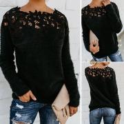Sweater Noir Doux Stylé à la Mode avec les Détails Ajourés en Dentelle