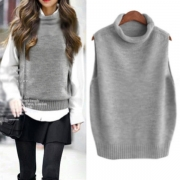 Fashion Solid Color Sleeveless Cowl Neck Knit Vest