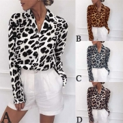 Fashion Long Sleeve V-neck Leopard Print Blouse