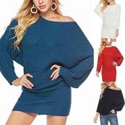 Sweater/Mini-Robe Douce Elégante à la Mode à Manches de Chauve-Souris