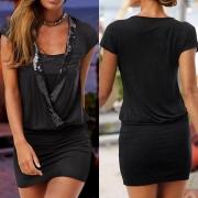 Robe Noire Elégante à la Mode Sexy Encolure V à Manches Courtes avec les Détails Pailletés