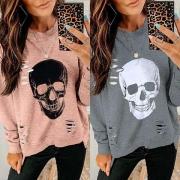 Tee-Shirt/Pull Stylé à la Mode Troué avec l'Ourlet Irrégulier à Imprimés de Squelette