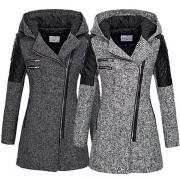Veste Stylée à la Mode à Capuche à Manches Longues avec un Design en Faux Cuir(Taille Petite)