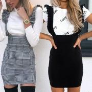 Jupe Salopette-Style Douce à la Mode à la Taille Haute avec un Design à Volants
