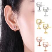 Boucles d'oreilles en Forme de Verre à Vin de Strass de Style Créatif