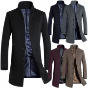 Fashion Solid Color Long Sleeve Stand Collar Men's Woolen Coat