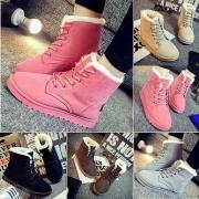Bottines/Chaussures D'Hiver Décontractées Classes à la Mode à Talons Plats à Lacets Pour Femmes