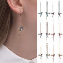 Boucles d'oreilles à Franges en Forme de Martin-pêcheuravec Strass