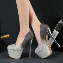 Chaussures à Talons Hauts à Semelles Compensées Sexy Sublimes à la Mode Scintillantes Bling-Bling Style