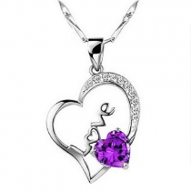 Fashion Purple Crystal Heart Pendant Necklace