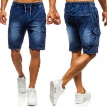 Short en denim au Genou pour Hommes à la Taille Élastique