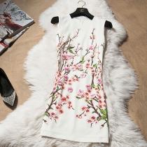 Élégant floraison imprimé floral Fleur Applique Robe sans manches