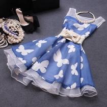 Ladylike Robe débardeur à taille haute moulante Blue Butterfly