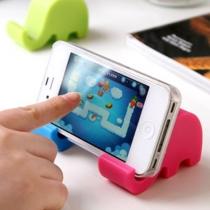 Titulaire mignon superbe de portable Mini éléphant Stand pour iPhone 5G 5S 4S Galaxy Note 2 3 (ensemble de 2, couleur au hasard)