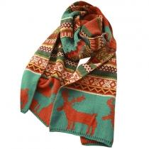 Folk style cerf figure géométrique Imprimer écharpe de laine